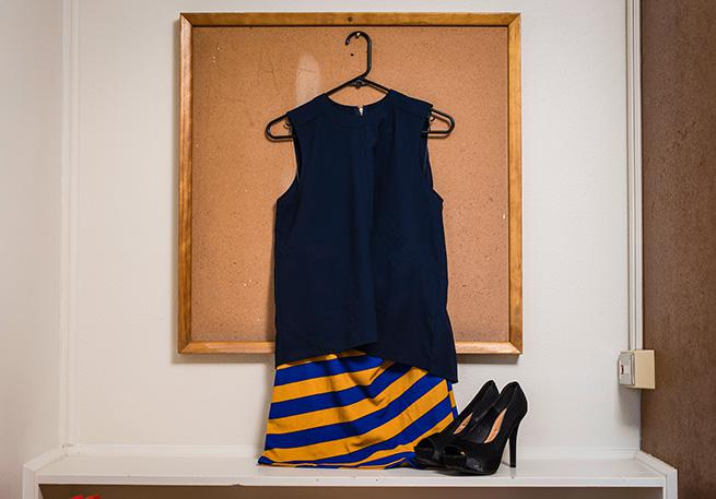 Navy tank top and fitted skirt (Yoruba and English)